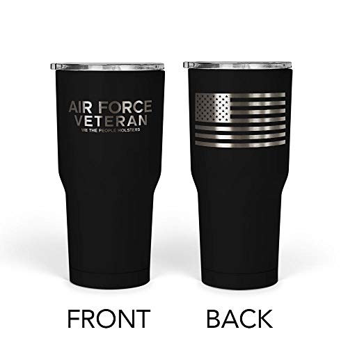 We The People - Air Force Veteran Mug - Stainless Steel Travel Mug with American Flag - 30 oz Insulated Tumbler - Veteran Gifts for Men - Military Deployment Gifts (Black)