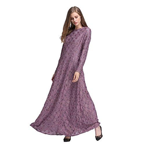Viola Delle Partywear Maxi Weixinbuy Musulmano Pizzo Donne Abaya Maniche Islamico Lunghe Di Abiti 6wUx7gxqzp