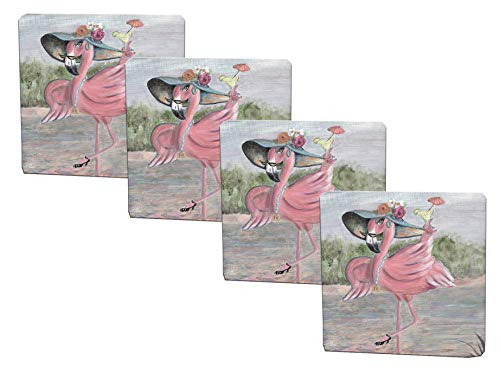 (Girls Night Out Pink Flamingo Set of 4 Drink Coasters)