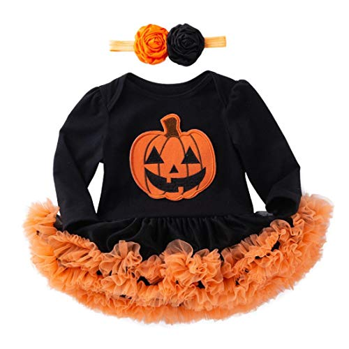 Todder Infant Baby Girl Boy Pumpkin Romper Dress+headbands,Long Sleeve Clothes Winter First Halloween Costumes Outfit Gifts (12-18 Months, Black) -