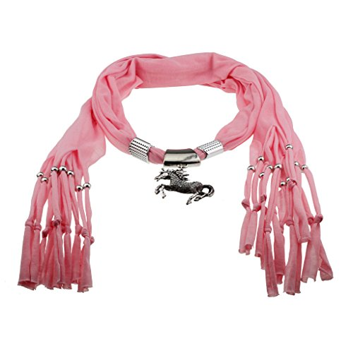 Pink-Scarf-Shawl-with-Vintage-Charm-Elegant-Studded-Crystals-w-Galloping-Prancing-Horse-Pendant