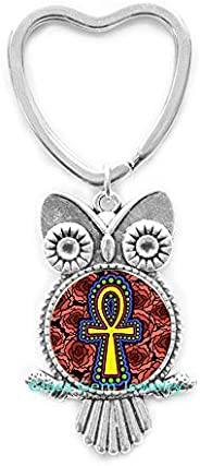 Egyptian Ankh Owl Keychain Egyptian Ankh Eternal Life Symbol Glass Dome Jewelry Owl Keychain Key Ring Ankh Owl