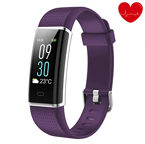 Lotyes Fitness Tracker,Color Screen Heart Rate Activity Tracker with Sleep Monitor,Steps Counter,IP68 Waterproof Smart Band for Kids,Women and Men (Purple)