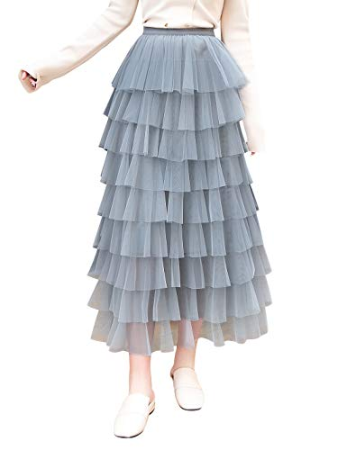 Itemnew Women's Sweet Elastic Waist Tulle Layered Ruffles Mesh Long Tiered Skirt (One Size, Blue)