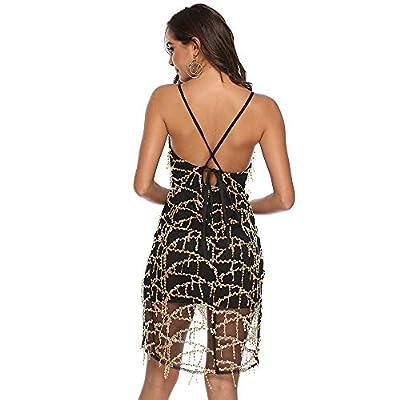BIUNIY Vestidos de Mujer Falda Escotada con Cuello en V Vestido de Lentejuelas Sexy Casual Summer Party Club Beach Falda,S: Hogar
