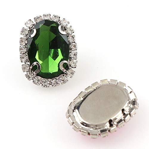 Shoppy Star Oval White K Sew On with Colorful Glass Stone Claw Crystal Buckle Cabochon Base Cameo Setting DIY Jewelry Clothes Charm: Grass Green, 18x25mm 3Pcs ()