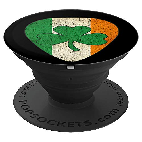 (Irish Music Lover Shamrock Flag on a Guitar Pick Distressed - PopSockets Grip and Stand for Phones and Tablets)