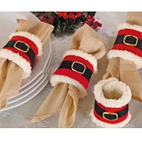 (Amberetech 4pcs Christmas Napkin Rings Holder,Santa Belts Design,Party Dinner Table Decor)