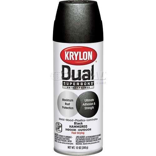 Krylon Dual Paint & Primer Aerosol 12 Oz. Black Hammered - Lot of 6