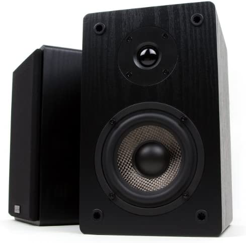 Micca MB42 Bookshelf Speakers, Passive, Not for Turntable, Needs Amplifier or Receiver, 4-Inch Carbon Fiber Woofer and Silk Dome Tweeter Black, Pair