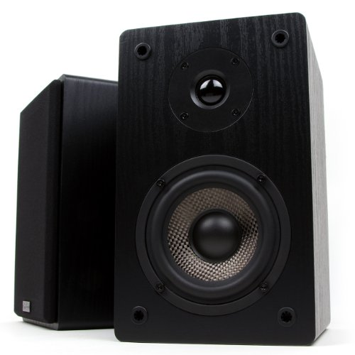 Micca MB42 Bookshelf Speakers, Passive, Needs Amplifier or Receiver, Not for Use Directly with Turntable, 4-Inch Carbon Fiber Woofer and Silk Dome Tweeter (Black, Pair)