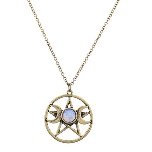 - Lux Accessories Burnish Gold Double Crescent Moon Pentagram Blue Opal Necklace