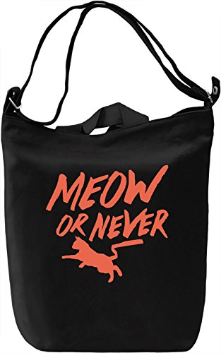 Meow Or Never Borsa Giornaliera Canvas Canvas Day Bag| 100% Premium Cotton Canvas| DTG Printing|