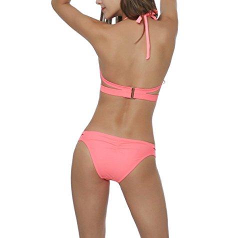 KUWOMINI.Fashion Señora Del Color Puro Bikini Traje De Baño De Europa Y América Orange