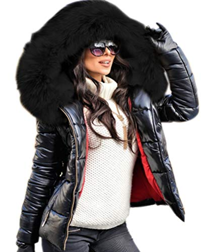 Aofur Womens Ladies Quilted Winter Coat Fur Collar Hooded Down Jacket Parka Outerwear (X-Large, Black_Black Fur)
