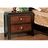 Furniture of America CM7152N Patra Acacia and Walnut Nightstand, 28.33 H