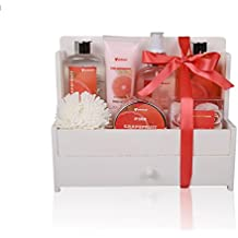 Spa Gift Basket, Spa Basket with Pink Grapefruit Fragrance, Infused with Essential Oil - Bath and Body Gift Set, Includes Shower Gel, Body Lotion, Bubble Bath, Body Spray, Bath Scrub, and More!!