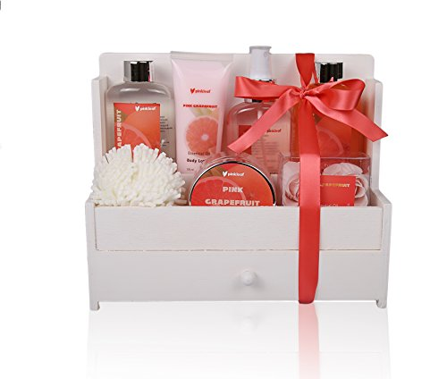 Spa Gift Basket, Spa Basket with Pink Grapefruit Fragrance, Infused with Essential Oil - Bath and Body Gift Set, Includes Shower Gel, Body Lotion, Bubble Bath, Body Spray, Bath Scrub, and More!! ()