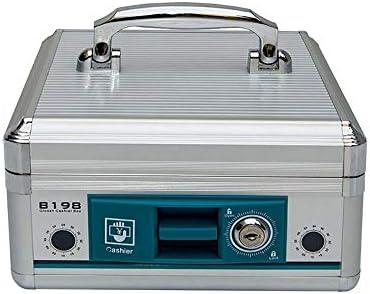 FESSLAND Caja metálica para Dinero Caja registradora de aleación de Aluminio de Bloqueo multifunción Caja de Efectivo Cash Box Portable (Color : Plata, tamaño : 205X210X115mm): Amazon.es: Hogar