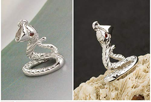 Libaraba 3D 925 Silver Red-Eyed Snake Pendant Necklace with Jewelry Box,Snake Necklace for Women (Silver) ()