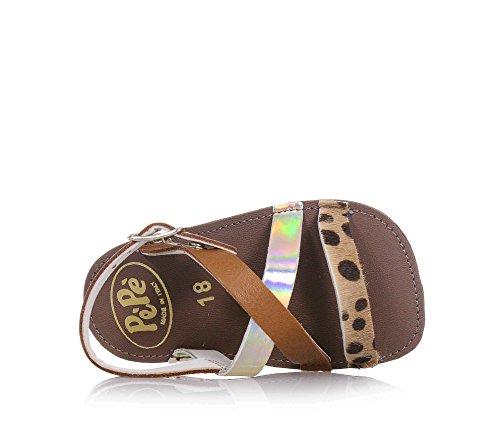 Pèpè Braune Sandale für Die Wiege Aus Leder, Made in Italy, auf der Vorderseite Gekreuzte Bänder, Baby Mädchen-18