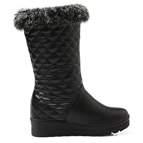 Lined Black Boots COOLCEPT Women Warm Calf Snow Mid Wedge T6B4f