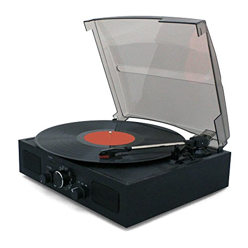 Tyler 3-Speed Stereo Turntable with Built in Speakers, Speed Adjustment, FM Radio, and RCA Output, Natural Wood, TTT602-BK (Cd Player With Built In Speakers)