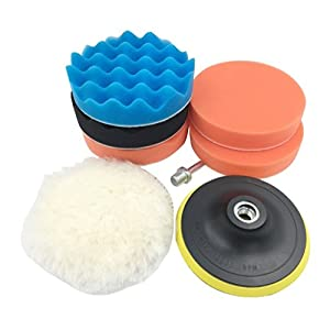 """Kicpot 7pcs 5"""" 125mm Polishing Pads, Auto Car Compound Sponge and Woolen Waxing Buffing Sanding Pads Kits with M14 Drill Adapter (Colour)"""