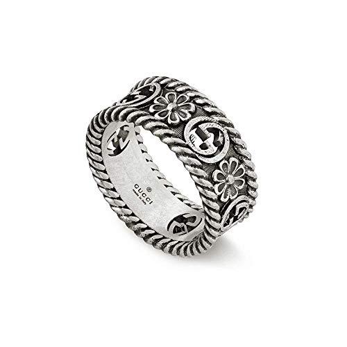 Gucci Interlocking G Silver Ring 8mm Size -7 1/2(USA) YBC577263001016