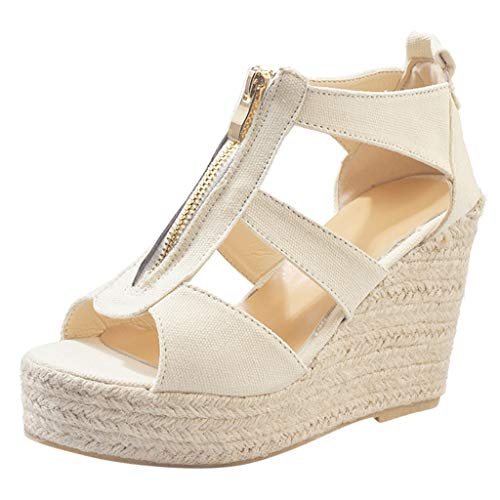 - Women Beach Sandals,AgrinTol Women Open Toe Breathable Rome Casual Solid Color Wedges Shoes (US:8.5, Beige)
