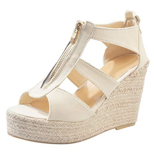 Women's Platform Wedges Sandals with Zipper Classic Ankle Strap Shoes Peep Toe High Heel Chunky Summer Beach Sandal Beige