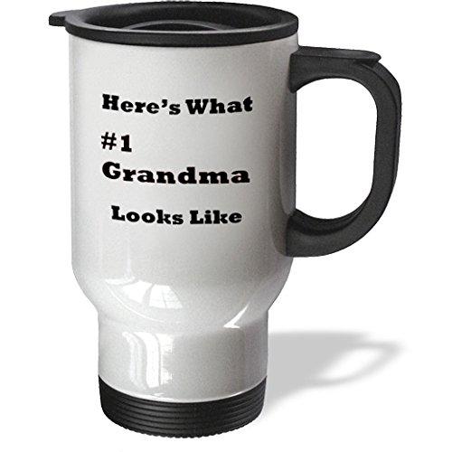 3dRose 3dRose Print of Heres What Number 1 Grandma looks Like - Travel Mug, 14oz, Stainless Steel (tm_195504_1), , White