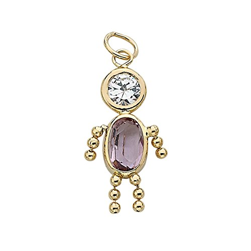14k Gold Birthstone Boy Charm June
