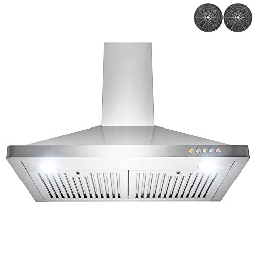 AKDY Wall Mount Range Hood - Stainless-Steel Hood Fan for Kitchen - 3-Speed Professional Quiet Motor - Premium Push Control Panel - Modern Design - Baffle Filter & LED & Carbon Filters (30 in.)