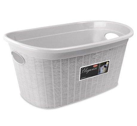 Stefanplast Elegance Basket, Plastic, white, 38x 58x 28cm by Stefanplast