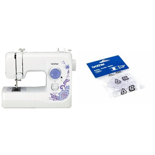 Brother XM1010 with 10 stitches, 4-Step Auto-Size Buttonholer, 4 Sewing', & instructional DVD and Brother SA156 Top Load Bobbins, 2 packs of 10 (20 total)