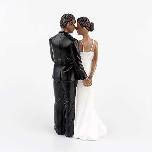 LaHomey Cake Wedding Topper, African American Wedding Anniversary Bride and Groom Resin Cake Topper Figurine