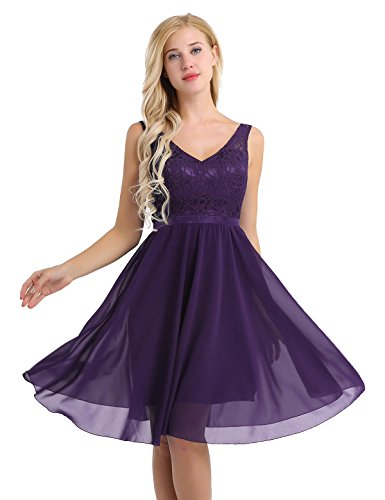 YiZYiF Women's Lace Chiffon A-Line Prom Formal Wedding Bridesmaid Short Mini Dress Dark Purple 16