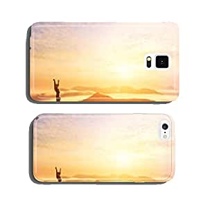 Happy man with hands up on the top of the world above clouds cell phone cover case Samsung S5