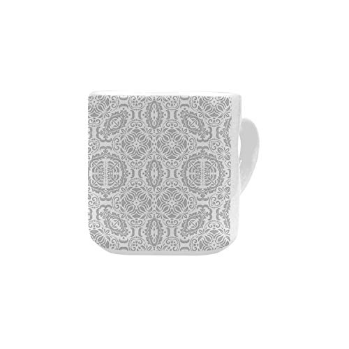 Grey Decor White Heart Shaped Mug,Lace Victorian Damask Antique Baroque Design with Oriental Effects Renaissance Art for Home,2.56
