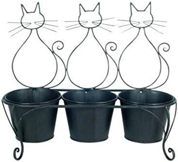CAPRILO Macetero Triple para Colgar Decorativo de Metal Gatos. Adornos. Decoración para Jardín. Regalos Originales. 40 x 47 x 17 cm.: Amazon.es: Jardín