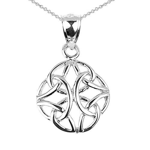 Elegant 14k Solid White Gold Celtic Trinity Knot Charm Pendant Necklace, 20