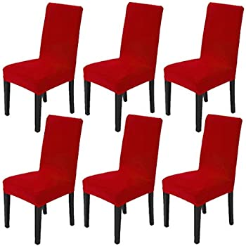 Dining Chair Slipcovers Protector Removable Short Stretch Spandex Dining Room Banquet Chair Seat Cover for Kitchen Bar Hotel and Wedding Ceremony 6PCS - Red
