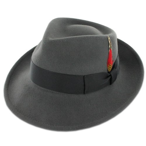 Belfry Gangster 100% Wool Stain-Resistant Crushable Fedora in 5 Sizes and 4 Colors Grey Medium (Grey Fedora Hat)