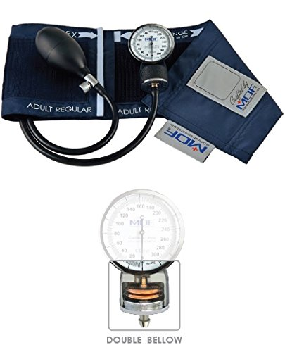 MDF Calibra Pro Aneroid Sphygmomanometer - Professional Blood Pressure Monitor with Adult Sized Cuff Included - Full & Free-Parts-For-Life (MDF808B) (Navy Blue)