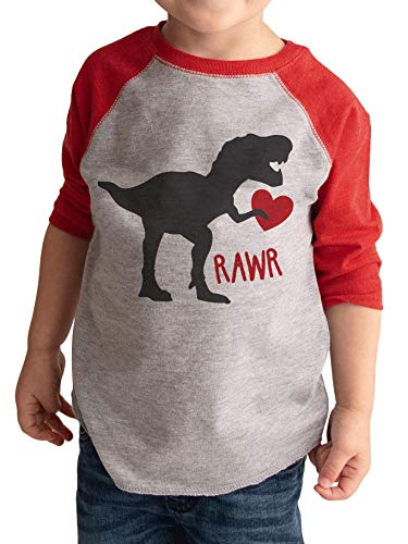 7 ate 9 Apparel Youth Dinosaur Happy Valentine's Day Small Red Raglan