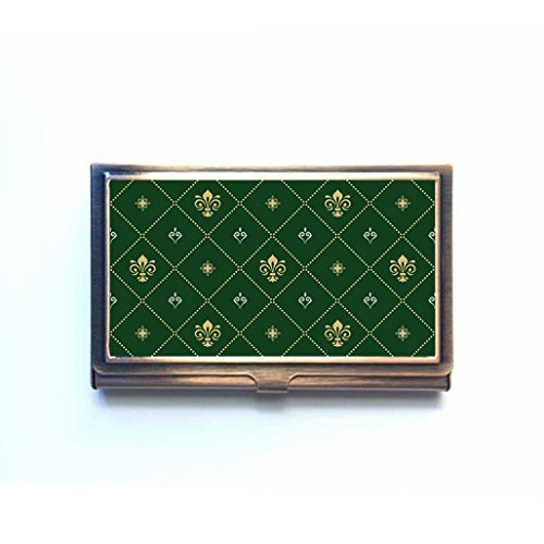 Modern Geometric With Royal Lilies Custom Business Bank Name Card Case Holder Bronze Box Pocket Credit Card Id Wallet