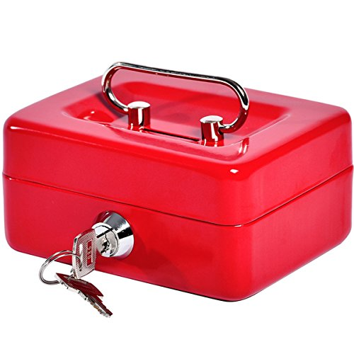 Small Coin Cash Box with Slot - Jssmst Lock Box for Adults Kids, Saving Money Box with Money Tray, Heavy-Duty 100% Safe, red