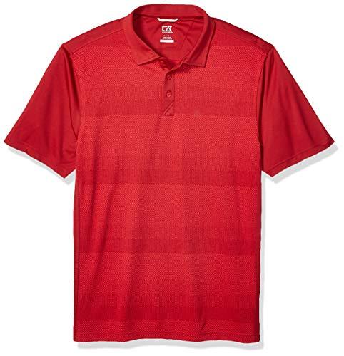 Cutter & Buck Men's Moisture Wicking Drytec Crescent Jersey Print Polo Shirt, Cardinal red, 2X Tall