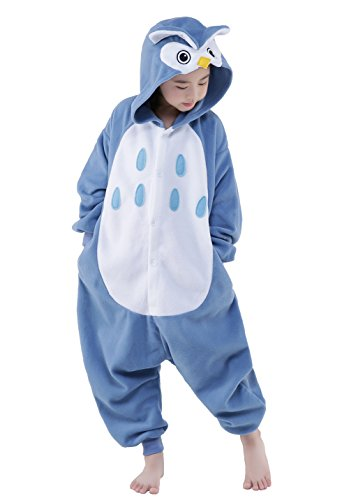 NEWCOSPLAY Unisex Children Owl Pyjamas Halloween Costume (4-Height -